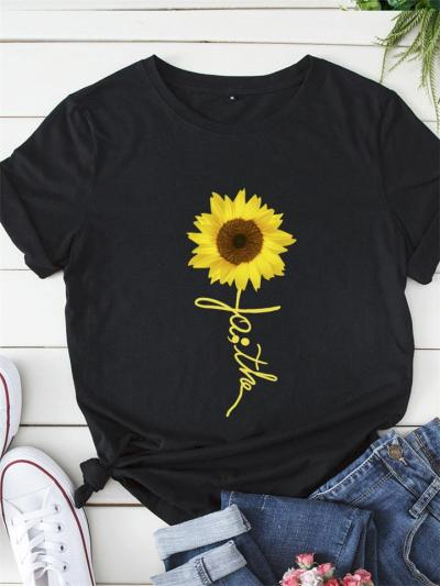Casual Round Neck Sunflower Cotton Short Sleeve Pullover T-Shirt