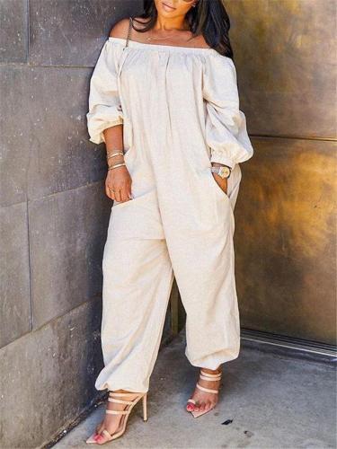Oversized Off Shoulder Elastic Cuff Long Sleeve Pocket Jumpsuit