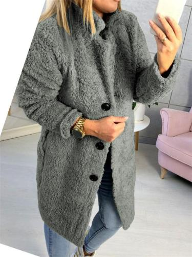Ultra Comfortable Front Button Solid Color Thicken Fur Coat