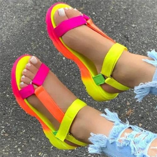 Women's Open Toe Lightweight Soft Strappy Hook Loop Flat Sandals