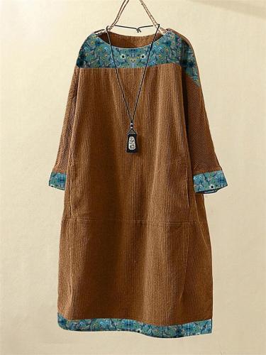 Vintage Casual Corduroy Flower Print 3/4  Sleeve Dress