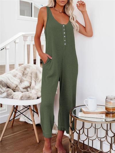 Trendy Scoop Neck Button Up Sleeveless Pocket Wide Leg Jumpsuit