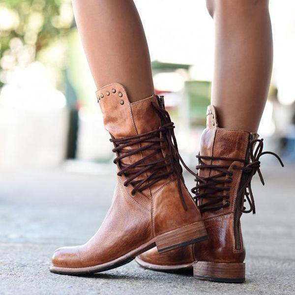 Cool Vintage Back Zipper Lace-Up Mid-calf Boots
