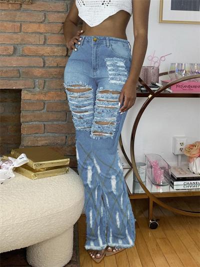 Stylish Pocket High-Rise Frayed Hem Bootcut Jeans