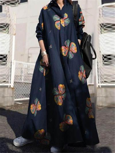 Loose Fit Lapel Collar Button Up Clover Cotton Long Sleeve Maxi Dress