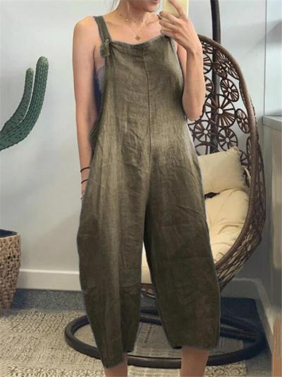 Casual Style Cotton Solid Color Strappy Cropped Jumpsuit