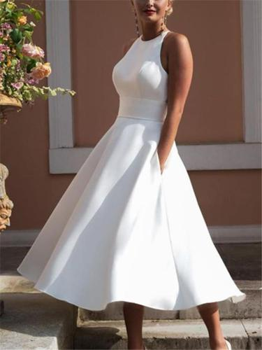 Elegant Halter Neck Back Cutout Sleeveless Fitted Waist Pocket Flare Dress