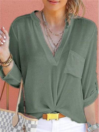 Loose Fit V Neck Solid Color Chest Pocket Long Sleeve Chiffon Blouse