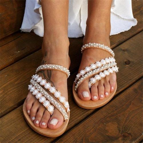 Flat Pearl Sandal For Women