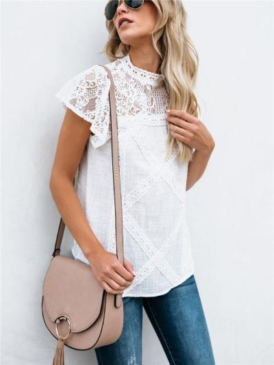 Relaxed Fit Round Neck Geometric Floral Lace Short Sleeve Tops