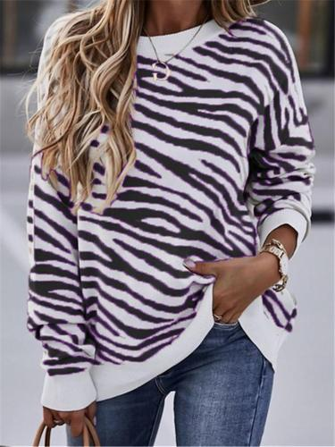 Comfortable Round Neck Tie-Dye Striped Long Sleeve Sweatshirt