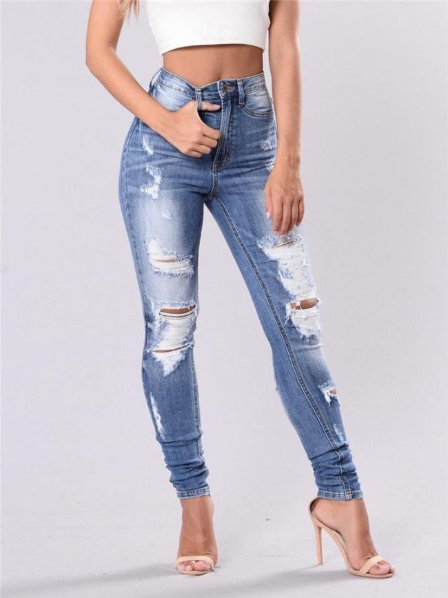 Stylish High-Rise Pocket Ripped Design Stretchy Skinny Jeans