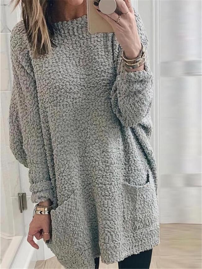 Comfortable Round Neck Solid Color Pocket Woolen Sweatshirt Dress