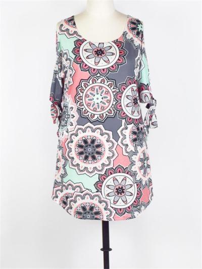 Trendy Round Neck Shoulder Cutout Tie Up Floral Pattern Dress