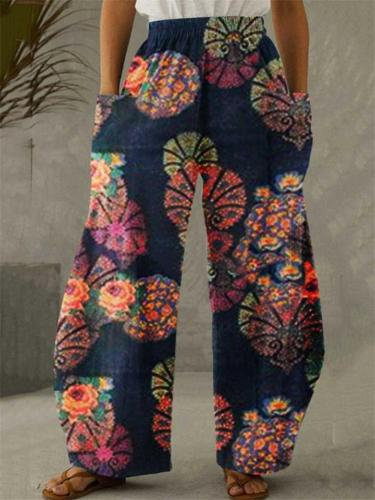 Ethnic Style Elastic Waist Floral Printed Pocket Wide-Leg Pants
