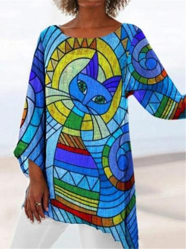 Casual Style Round Neck Abstract Printed Asymmetric Hem Tops