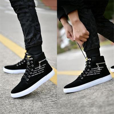 Fashionable High-Cut Lace-Up Back Zipper Waterproof Sneakers