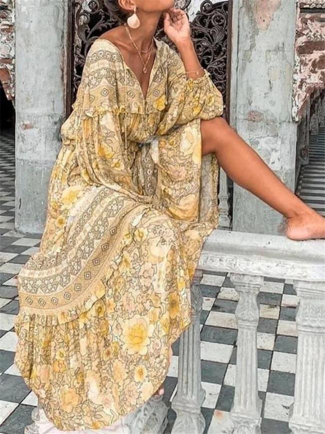 Bohemian Style Floral Printed Long Sleeve Ruffle Hem Maxi Dress