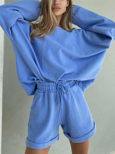 Fashion Casual Loose O Neck Long Sleeve Tops+Shorts Sets