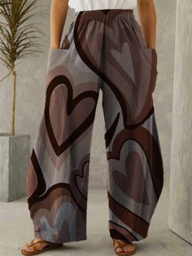 Ethnic Style Elastic Waist Heart Printed Pocket Wide-Leg Pants