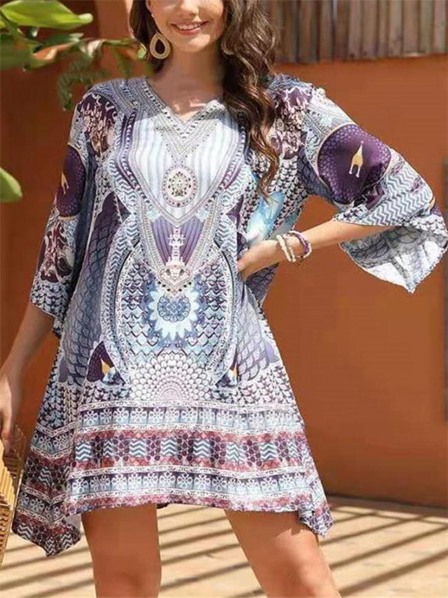 Drop Waist Silhouette Asymmetric Hem Flowy Half Sleeve Mini Dress