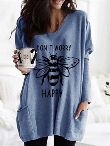 Stylish loose Bee Print Pocket Long Sleeve T-shirt