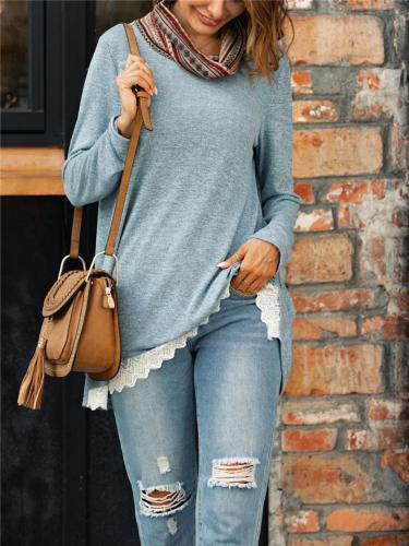 Relaxed Fit Cowl Neck Lace Hem Long Sleeve Patchwork Tops
