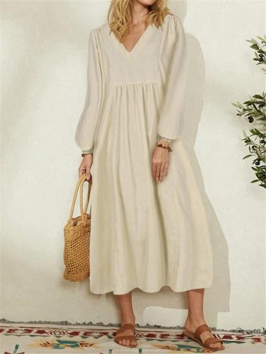 Minimalist Style V Neck Pleated Lantern Long Sleeve Cotton-Blend Dress