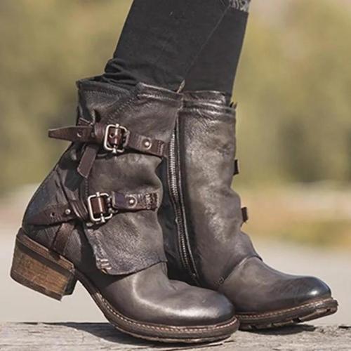 Breathable Waterproof Side Zipper Chunky Low Heel Buckle Boots