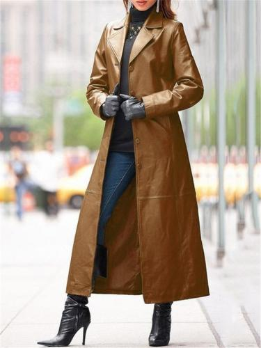 Stylish Notched Lapel Collar Button Closure  Faux Leather Coat