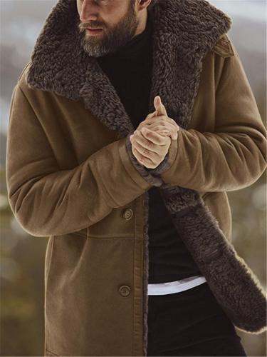 Cozy Warm Fur Interior Button Closure Lapel Collar Thicken Coat