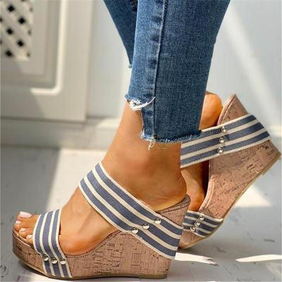 Stylish Platform High Wedge Heel Striped Open-Toe Sandals Slippers