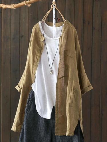 Women's Vintage Button Down Cotton Asymmetric Long Sleeve Blouse
