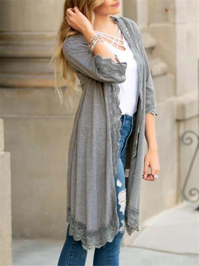 Casual Style Open-Front Floral Lace Design Midi Length Cardigan