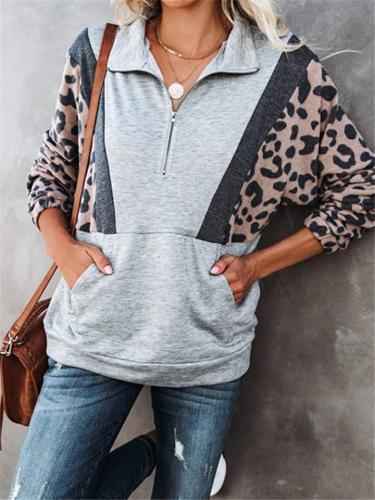 Casual Style Leopard Printed Front Pouch Pocket Zipper Sweatshirt