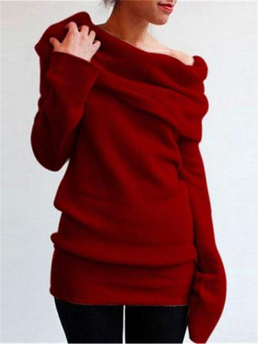 Cozy Cowl Neck Solid Color Long Sleeve Pullover Sweaters