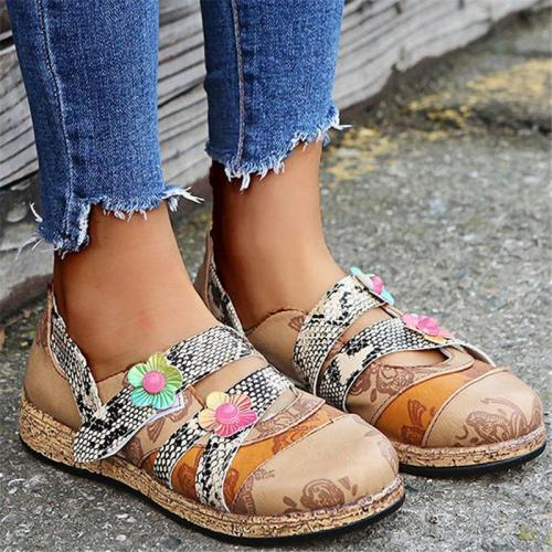 Casual Style Floral Low-Cut Slip-On Flat Loafers