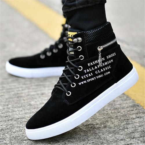 Fashionable High-Cut Lace-Up Back Zipper Waterproof Sneakers