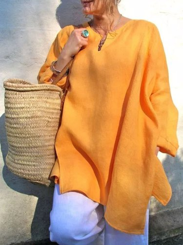 Casual Long Sleeve Plus Size V-Neck Blouse