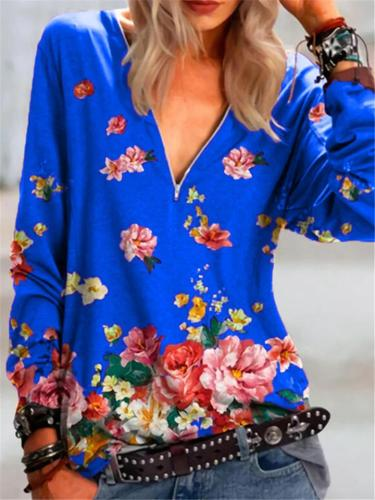 Casual Style V Neck Floral Printed Front Zipper Long Sleeve Pullover Tops