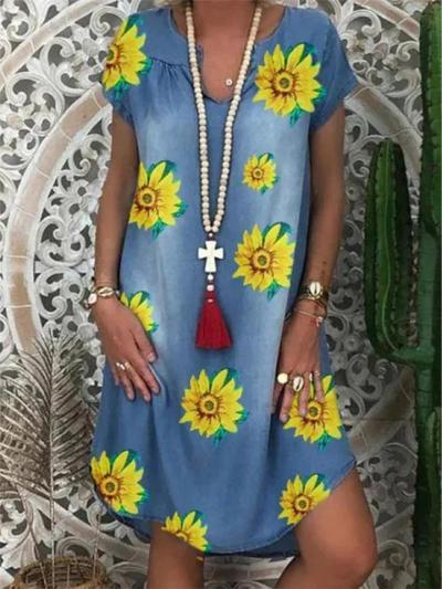 Loose Fit Notched V Neck Short Sleeve Floral Basic Pullover Dress