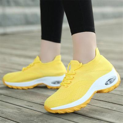 Breathable Rocker Bottom Lace-Up Thick-Sole Mesh Non-Slip Sneakers