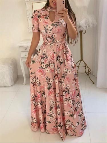 Fashionable Floral Printed Short Sleeve Waist Tie Maxi Dress