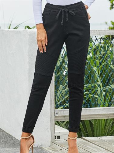 Elastic Waistband Drawstring Black Skinny Denim Pants