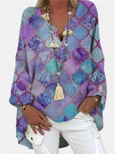Loose Fit Notched V Neck Floral Printed Long Sleeve Pullover Tops