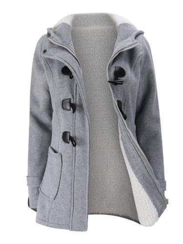 Casual Warm Plush Lined Hooded Jacket Coat
