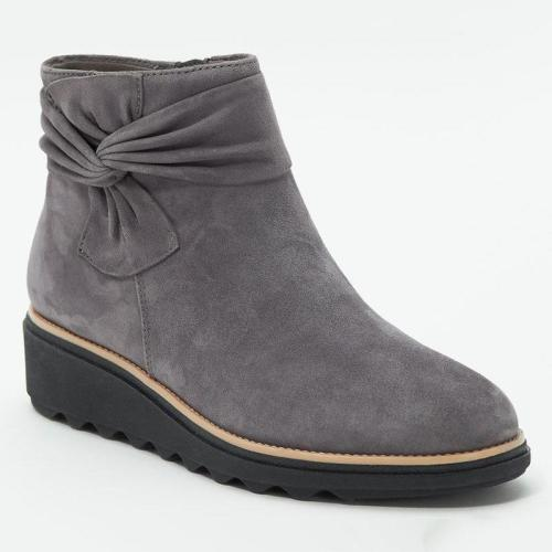 Trendy Bowknot Design Wedge Heel Side Zipper Suede Short Boots