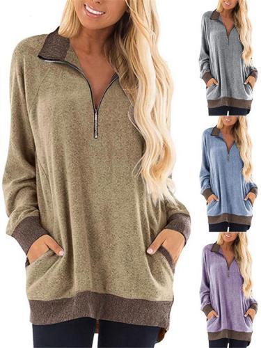 Extra Cozy Front Quarter Zipper Long Sleeve Shirts