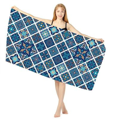 Ethnic Style Sand Repellent Floral Geometric Pattern Quick Dry Beach Blanket