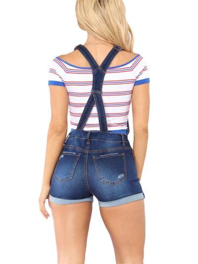 Square Neckline Suspender Straps Rolled Cuff Ripped Design Denim Bibs